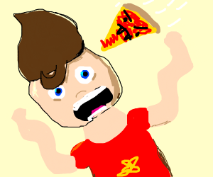Jimmy Neutron is attacked by a pizza
