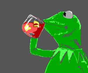 kermit the frog sipping tea