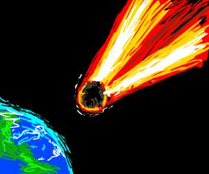 a meteor hitting earth