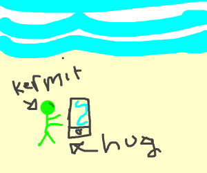 Tiny Kermit hugs the phone