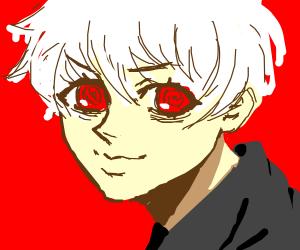 Evil man, white hair, pointy AF nose, big eye
