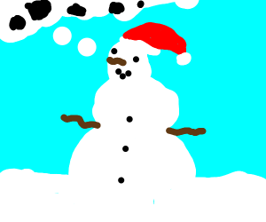Snowman thinking about coal.