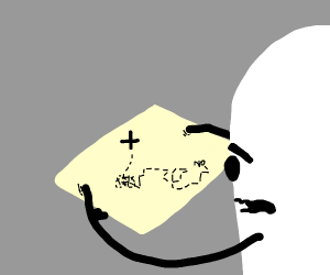 Monster confused at treasure map.