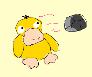 psyduck lifting a rock with his  m i n d