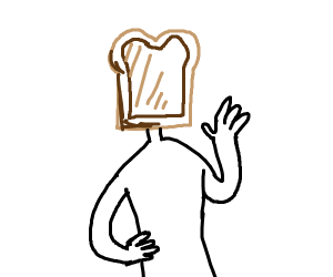 Man with Bread on his Face