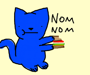 Blue obese cat eating sandwich