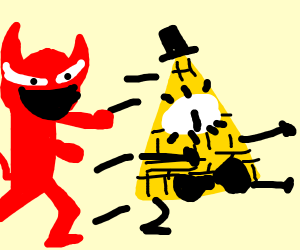 Bill Cipher (gravity falls) chased by a demon