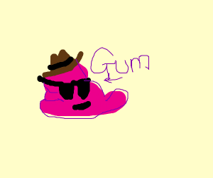 Wad of gum wears a hat and shades