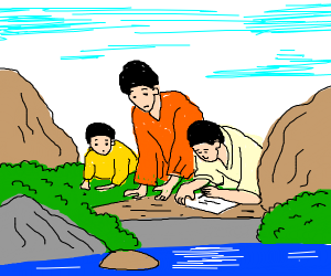 chines people drawing at rivers