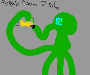 Area 51 alien playing a trumpet