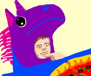 Man dressed in unicorn suit contemplatesPizza