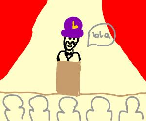 waluigi gives speech at awards ceremony
