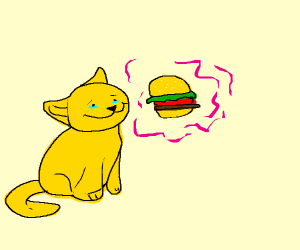 Cat Happy With Tears Looking At Burger