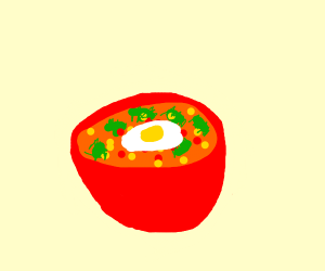 a bowl full of soup
