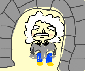 Einstein hiding out in a cave.