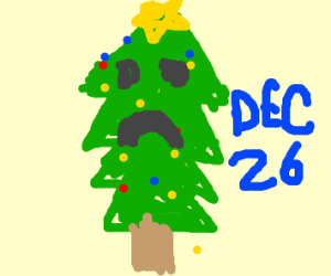 a tree is sad christmas is over