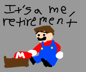 mario retiring and putting his hat in a box