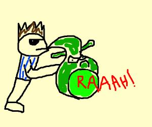 Shrek, but a saxophone