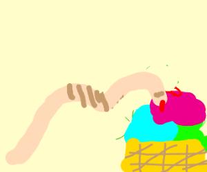 Worm eating ice cream