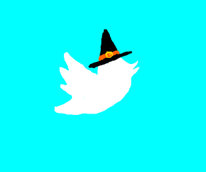 twitter icon with witch hat and belt