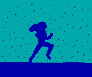 running girl's silhouette under the rain