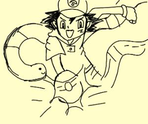 Ash choosing a big worm
