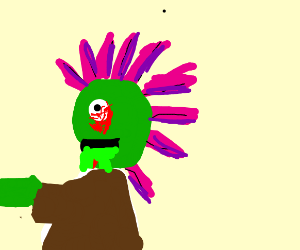 zombie with green spit has weird hairstyle