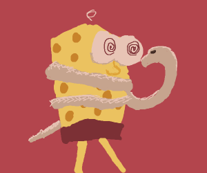 Snake ghost constricts Spongebob