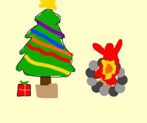 Christmas tree and campfire