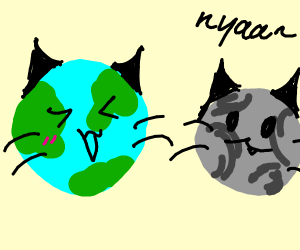 cat-earth with its cat-moon