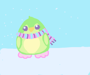 Green penguin with a scarf