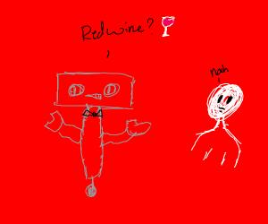 Robot butler offers man red wine
