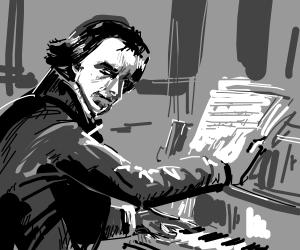 sad Beethoven plays the piano