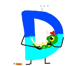 Drawception D holding a caterpillar