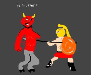 Man spears Satan, ooo it tickles!