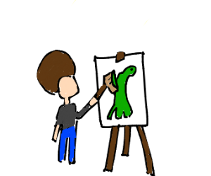 Bob ross paints a dinosaur