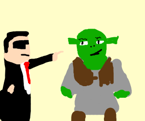 Man in suit points at Shrek