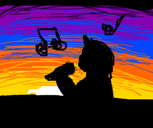 Singing during a sunset
