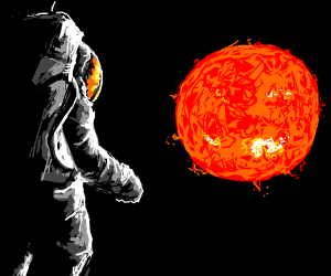 An astronaut next to the sun