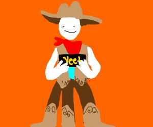 Three-legged cowboy holds Yeet