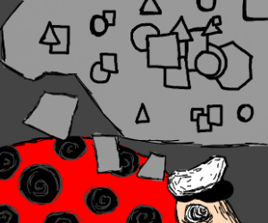 captain lady bug thinking about geometry