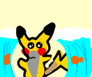 Pikachu Moses parts the Red sea