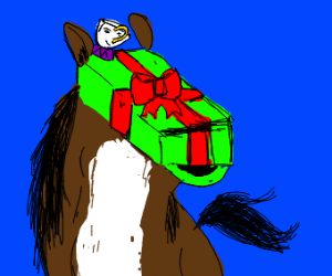 Horse with gift head and a smiling teacup