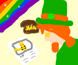 Leprechaun discovering a Card