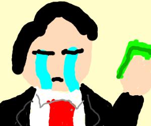 gentleman sad at money