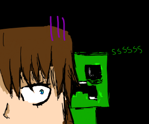 Steve mining diamonds but there's a creeper