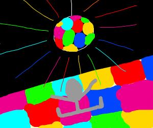 gray dude dancing in a disco