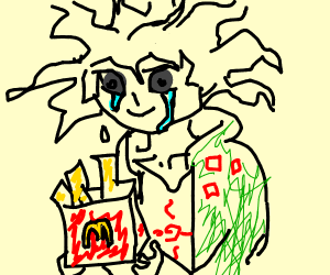 komaeda crying into his fries