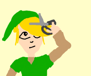 Link about to trim his bangs