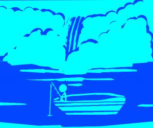 Lonely stick man fishing